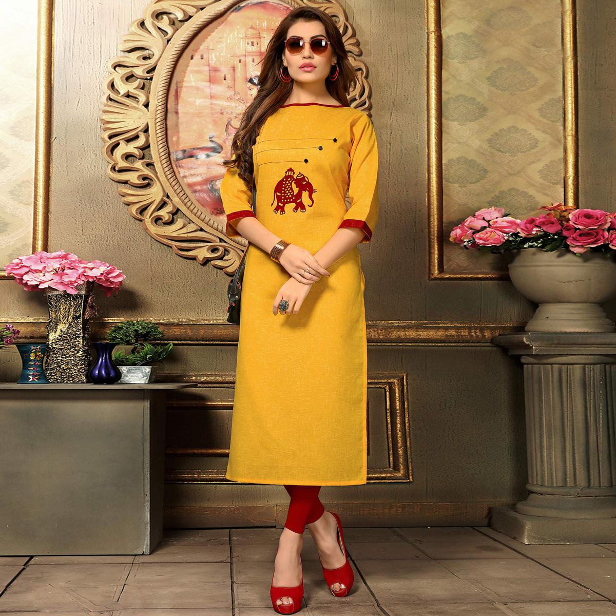 Gleaming Dark Yellow Colored Casual Printed Khadi Cotton Kurti