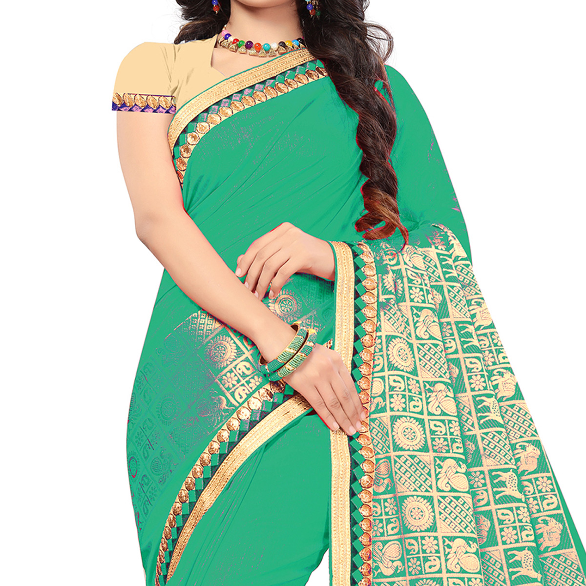 Adorable Green Colored Festive Wear Woven Silk Saree