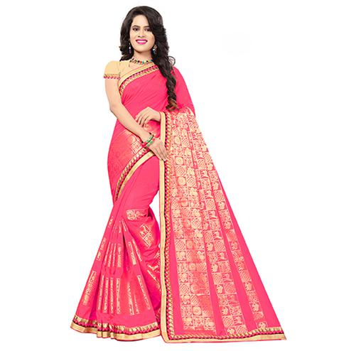 Attractive Pink Colored Festive Wear Woven Silk Saree