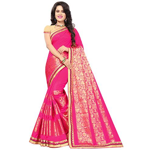 Beautiful Bright Pink Colored Festive Wear Woven Silk Saree