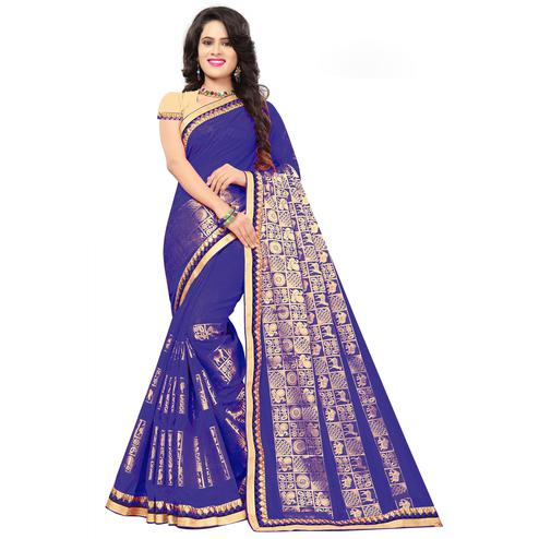Gorgeous Royal Blue Colored Festive Wear Woven Silk Saree