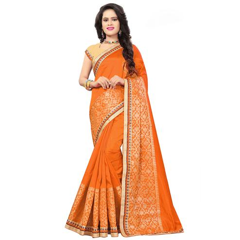 Glorious Orange Colored Festive Wear Woven Silk Saree