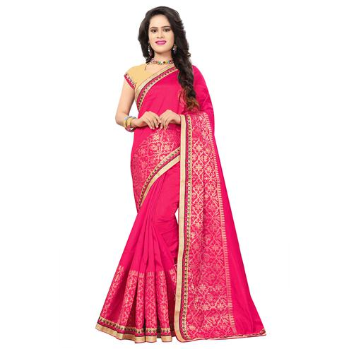 Graceful Dark Pink Colored Festive Wear Woven Silk Saree