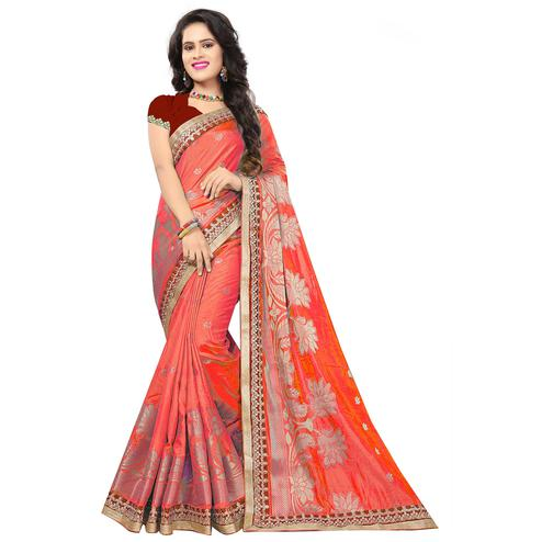 Ravishing Light Red Colored Festive Wear Woven Silk Saree