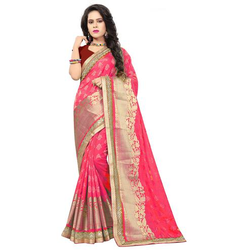 Stunning Pink Colored Festive Wear Woven Silk Saree