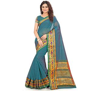 Ocean Green Festive wear Designer Cotton Silk Saree