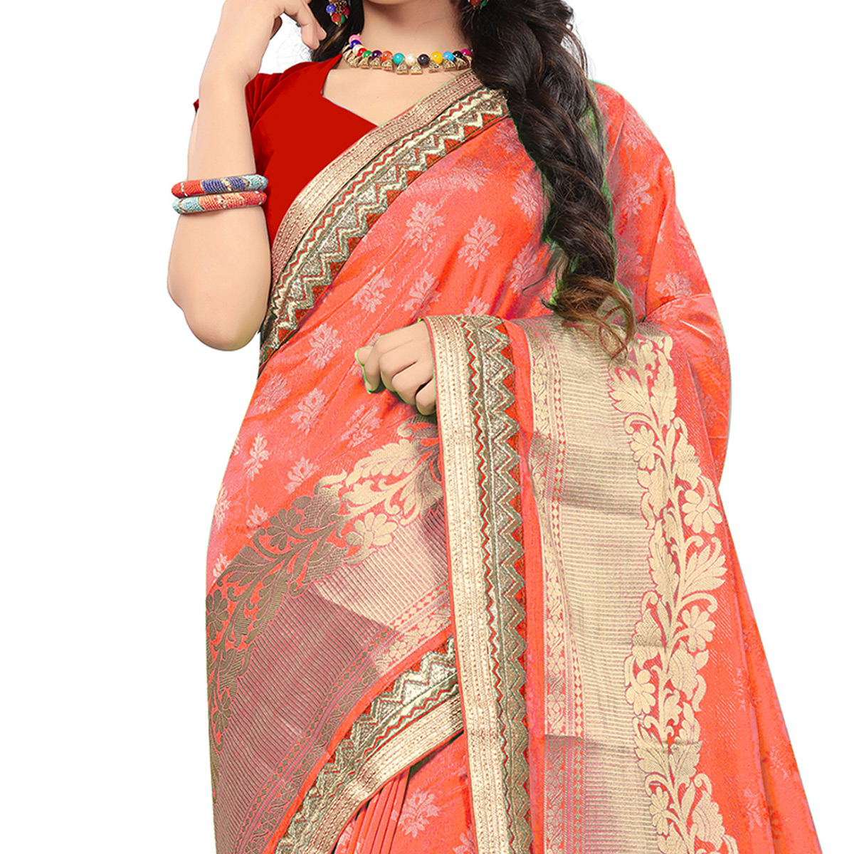 Marvellous Light Orange Colored Festive Wear Woven Silk Saree