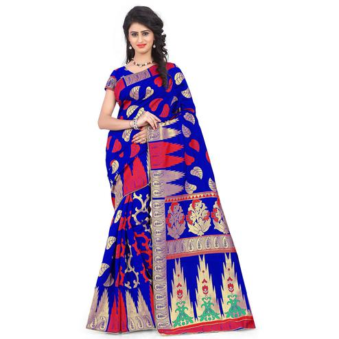Adorable Royal Blue Colored Festive Wear Printed Banarasi Silk Saree