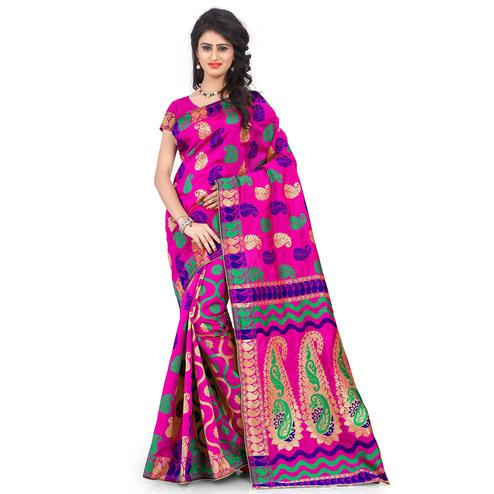 Attractive Pink Colored Festive Wear Printed Banarasi Silk Saree