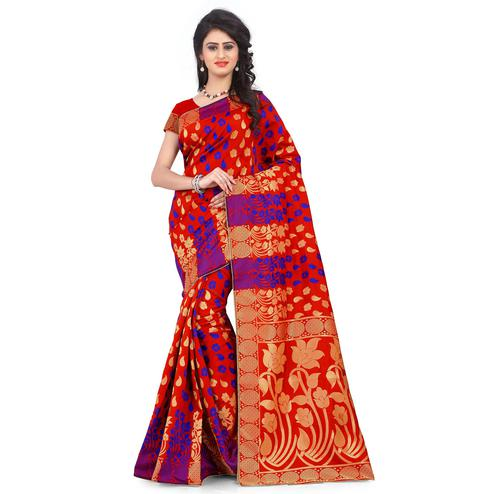 Beautiful Red Colored Festive Wear Printed Banarasi Silk Saree