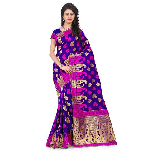 Classy Purple Colored Festive Wear Printed Banarasi Silk Saree