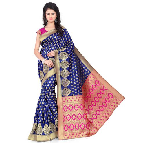 Glorious Navy Blue - Pink Colored Festive Wear Printed Banarasi Silk Saree
