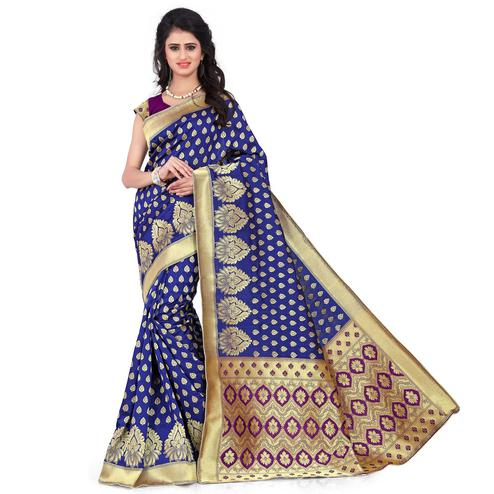 Graceful Navy Blue - Purple Colored Festive Wear Printed Banarasi Silk Saree
