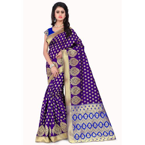 Charming Purple - Blue Colored Festive Wear Printed Banarasi Silk Saree