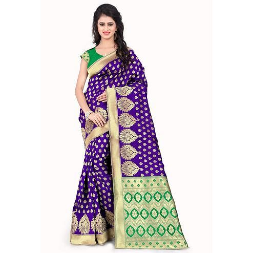 Ravishing Purple - Green Colored Festive Wear Printed Banarasi Silk Saree
