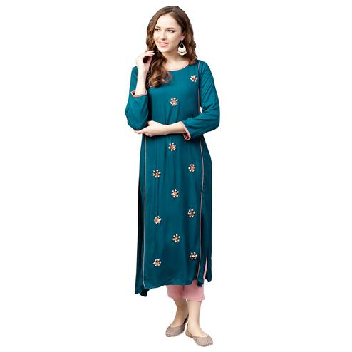 Intricate Teal Blue Colored Casual Wear Embroidered Rayon Kurti