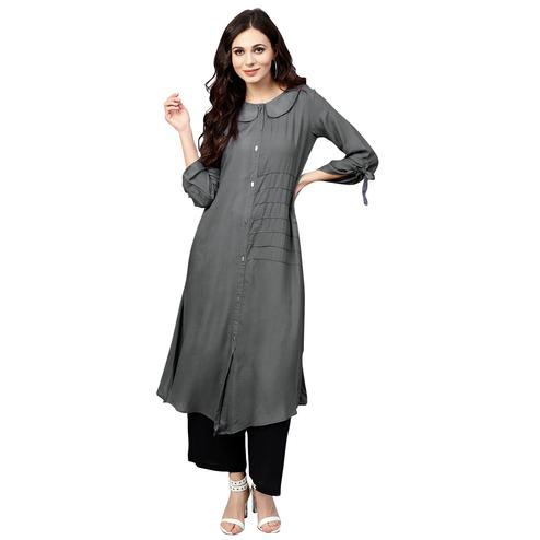 Desirable Dark Grey Colored Casual Wear Rayon Kurti