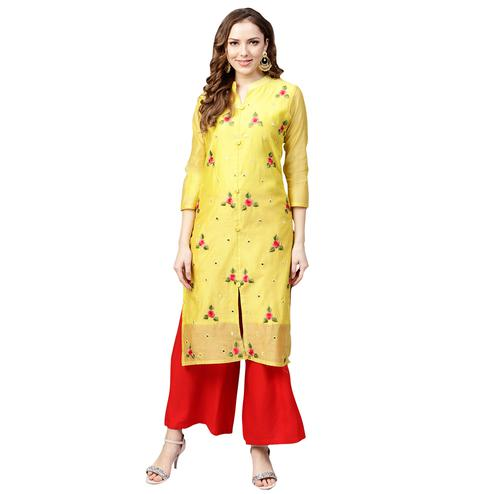 Unique Yellow Colored Casual Wear Embroidered Chanderi-Cotton Kurti