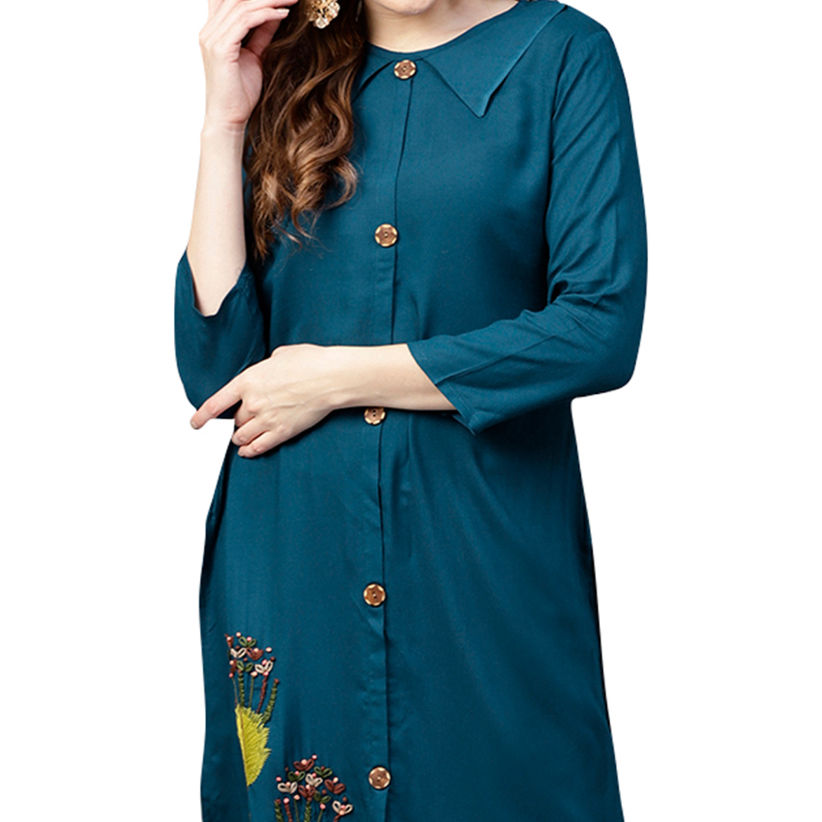 Elegant Blue Colored Casual Wear Embroidered Rayon Kurti