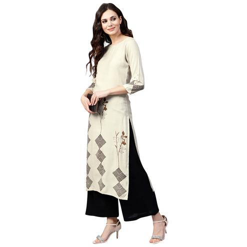 Alluring Off White Colored Casual Wear Printed Rayon Kurti