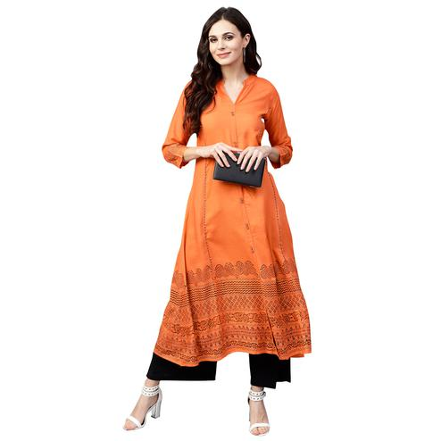 Radiant Orange Colored Casual Wear Printed Rayon Kurti