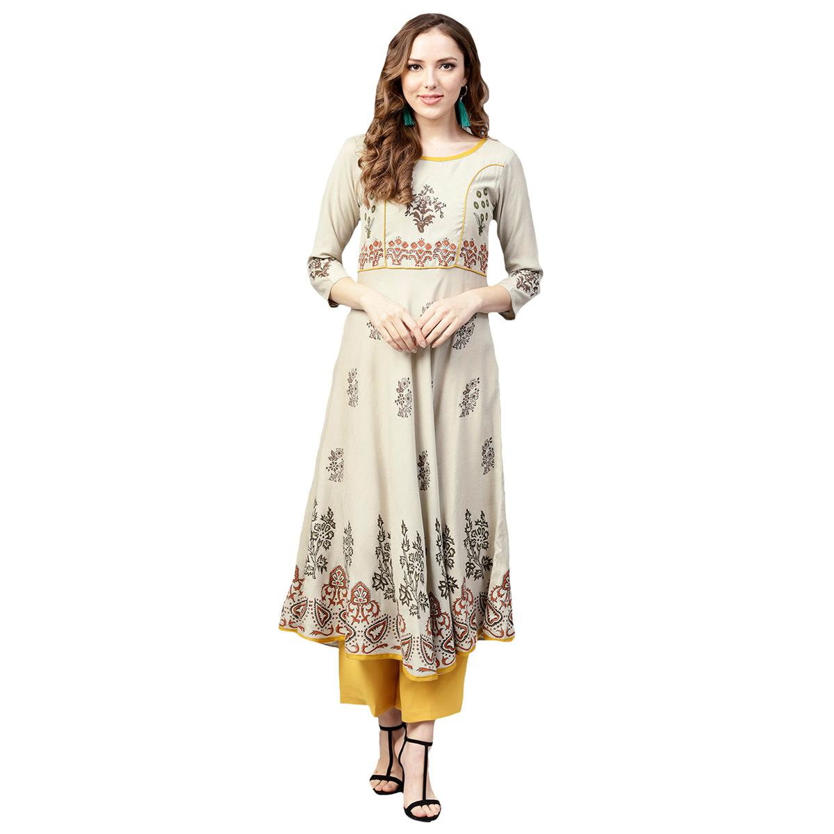 Sensational Off White Colored Casual Wear Printed Rayon Kurti