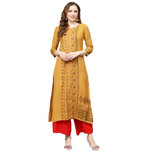 Opulent Light Orange Colored Casual Wear Printed Rayon Kurti
