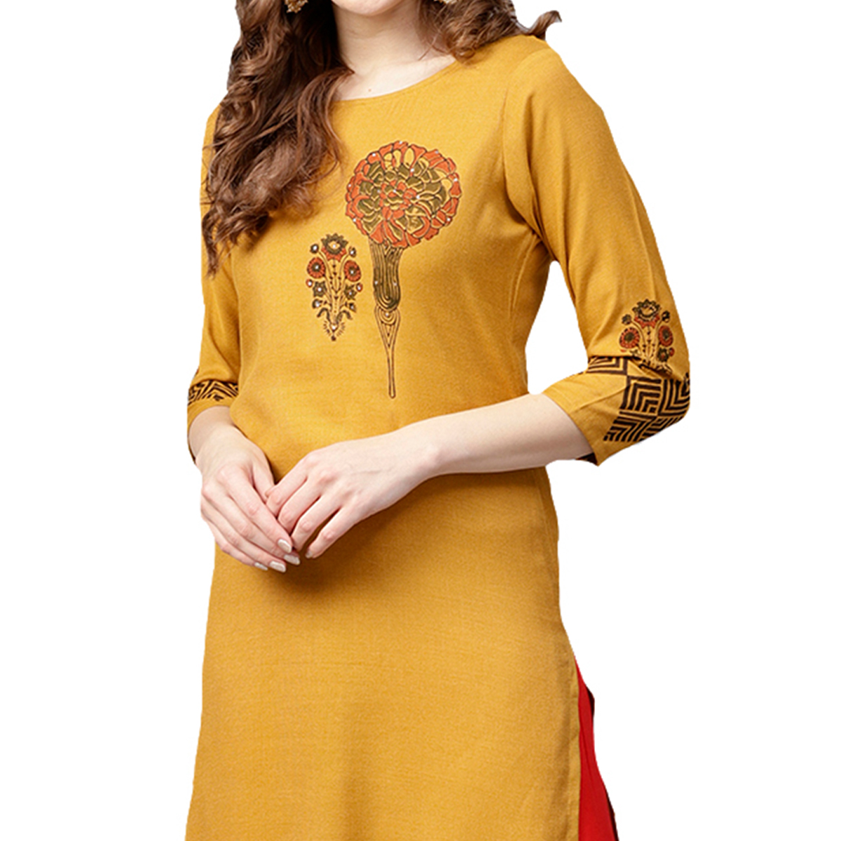 Flattering Light Orange Colored Casual Wear Printed Rayon Kurti
