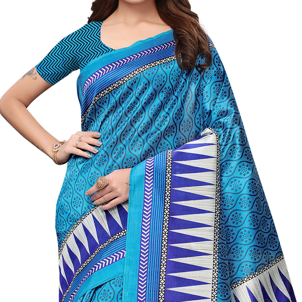 Adorable Blue Colored Casual Wear Printed Art Silk Saree