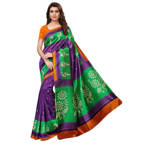 Attractive Purple Colored Casual Wear Printed Art Silk Saree