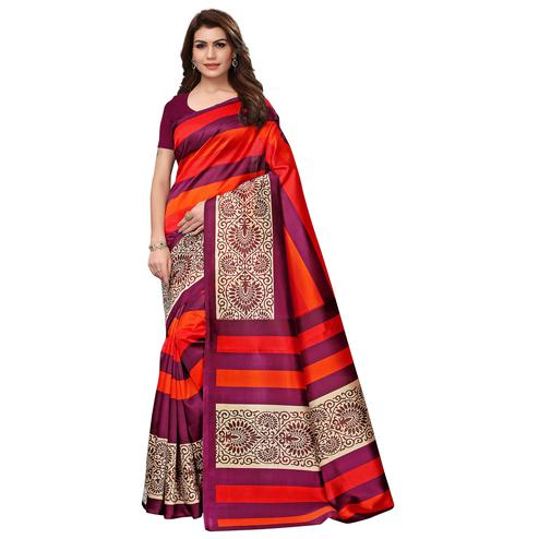 Beautiful Orange - Wine Colored Casual Wear Printed Art Silk Saree