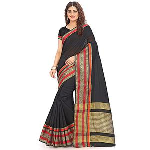 Black Festive wear Designer Cotton Silk Saree