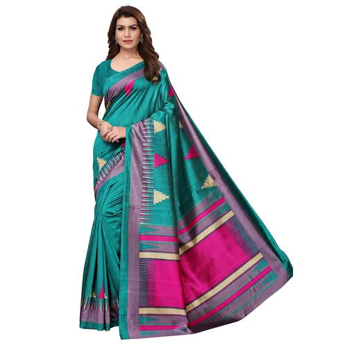 Glorious Dark Turquoise Green Colored Casual Wear Printed Art Silk Saree
