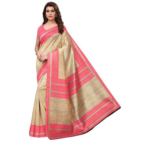 Graceful Beige Colored Casual Wear Printed Art Silk Saree