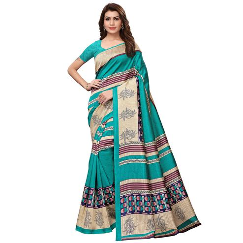 Charming Turquoise Green Colored Casual Wear Printed Art Silk Saree