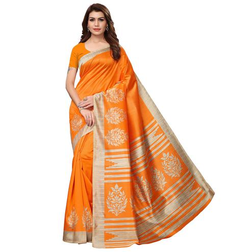 Ravishing Orange Colored Casual Wear Printed Art Silk Saree