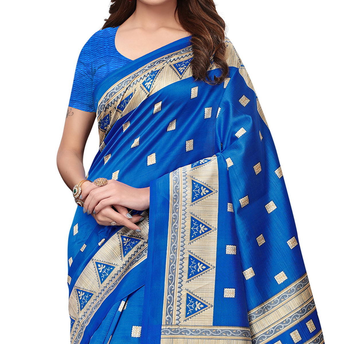 Blooming Blue Colored Casual Wear Printed Art Silk Saree
