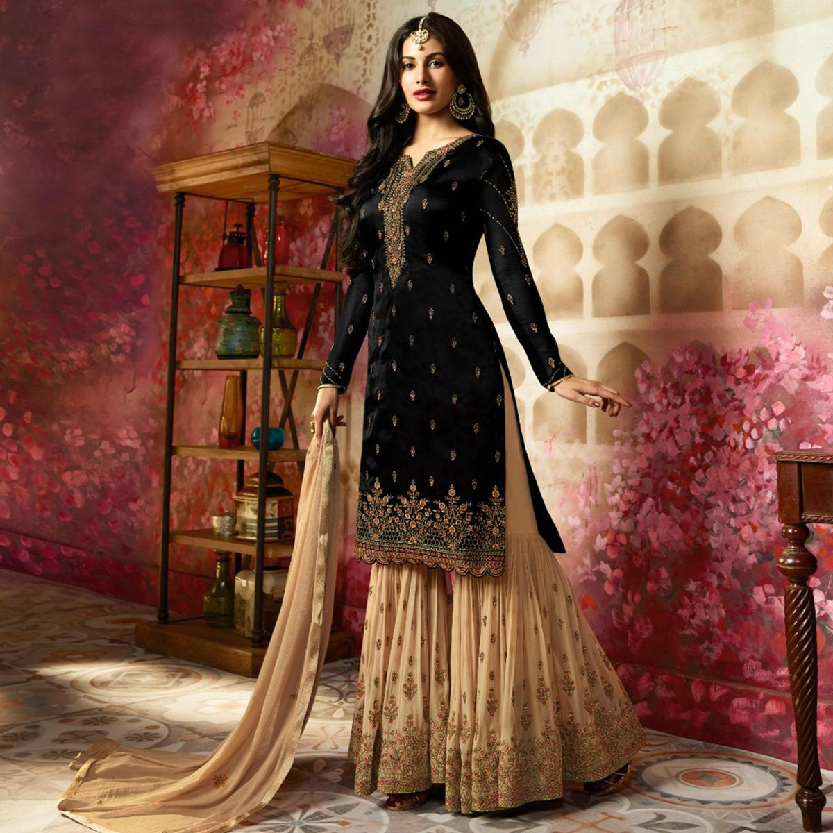 Flaunt Black Colored Partywear Embroidered Georgette Palazzo Suit