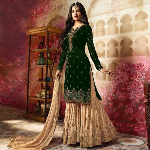 Refreshing Green Colored Partywear Embroidered Georgette Palazzo Suit