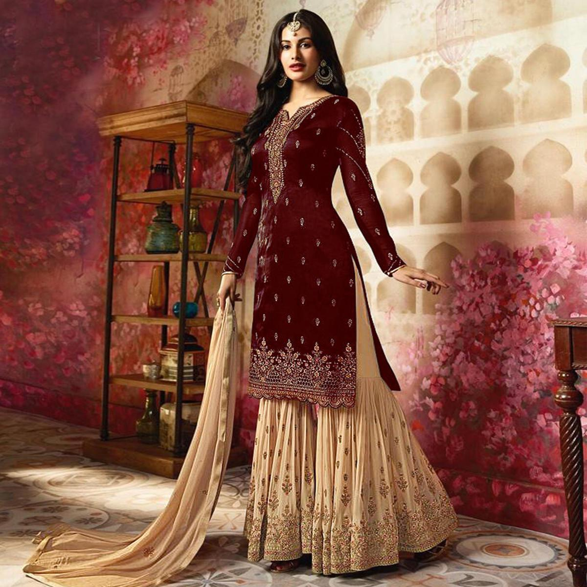 b82c2a4e195 Buy Trendy Maroon Colored Partywear Embroidered Georgette Palazzo Suit For  womens online India