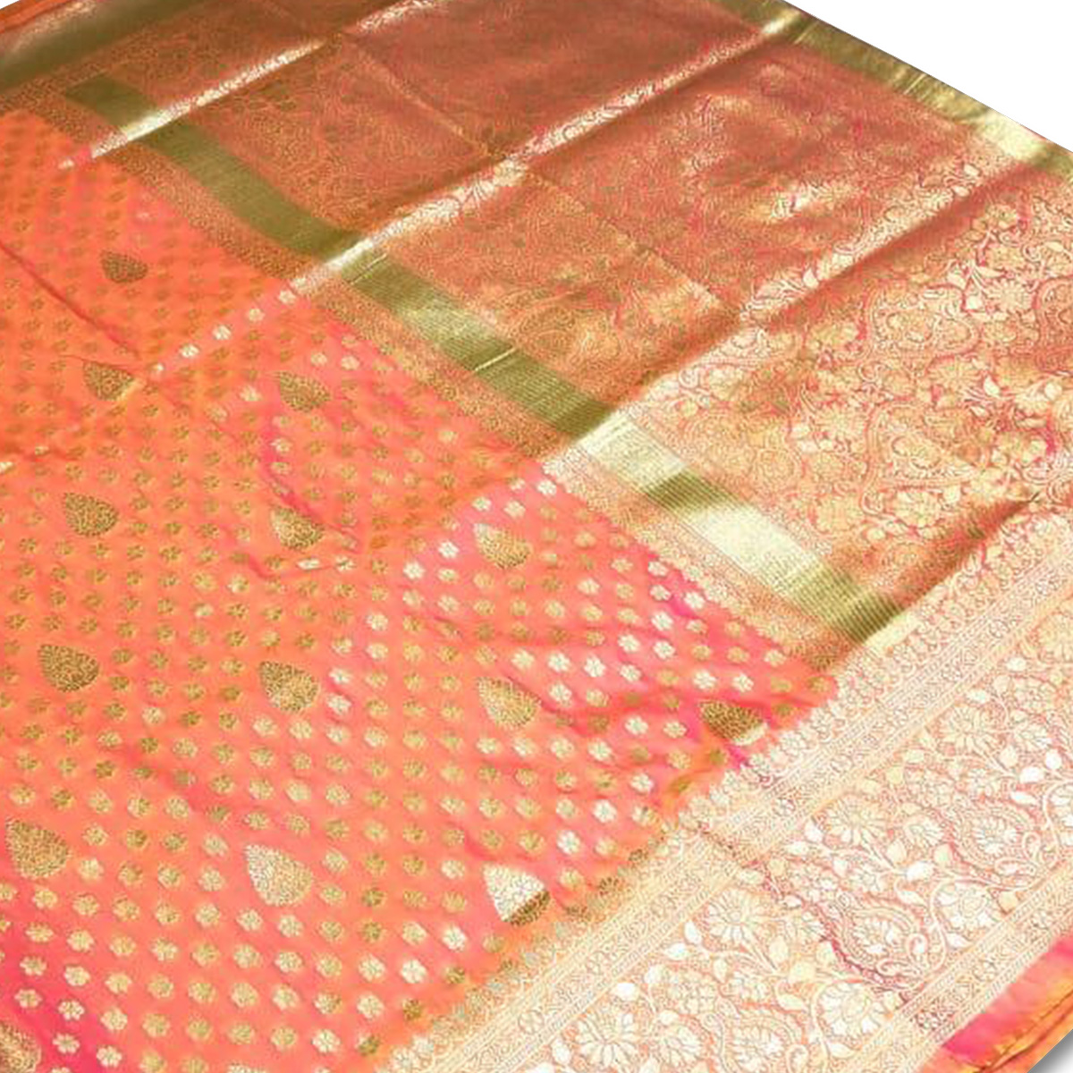 Prominent Orange Colored Festive Wear Woven Banarasi Silk Saree