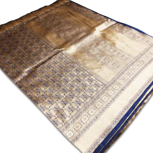 Adorning Navy Blue Colored Festive Wear Woven Banarasi Silk Saree