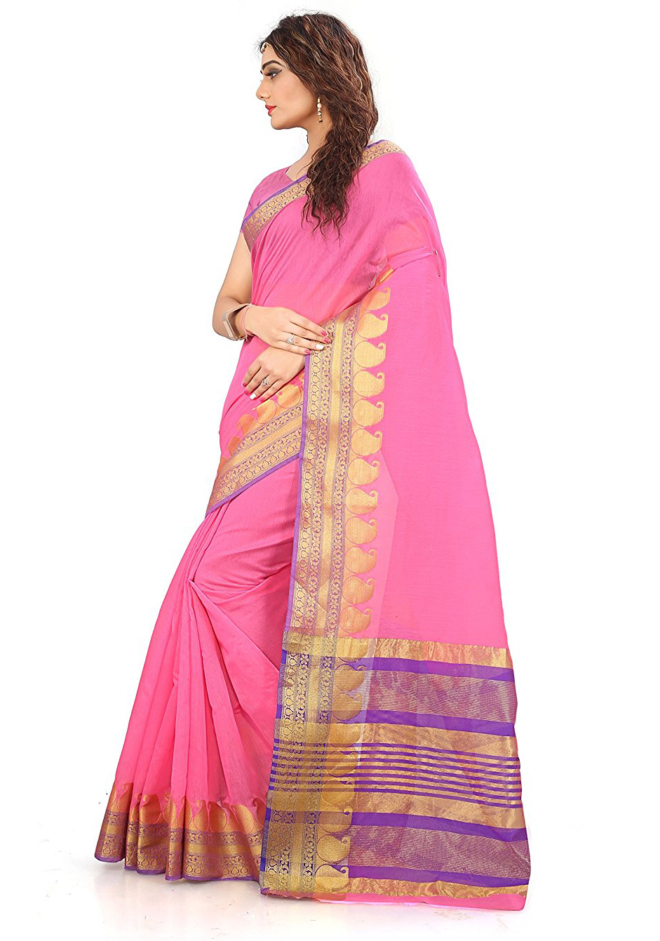 Pink Festive wear Designer Cotton Silk Saree