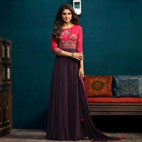 Dazzling Pink-Purple Colored Party Wear Embroidered Georgette & Silk Gown