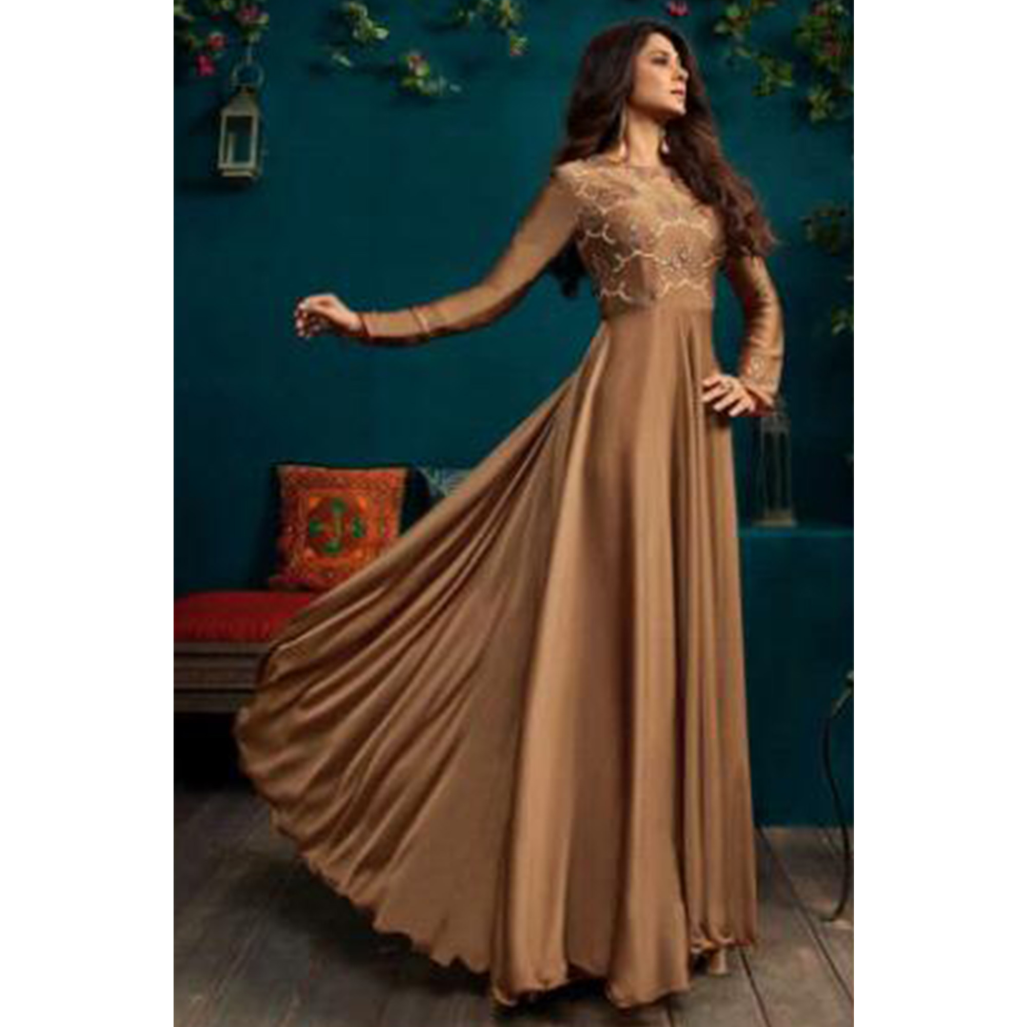Flattering Brown Colored Party Wear Embroidered Georgette Gown