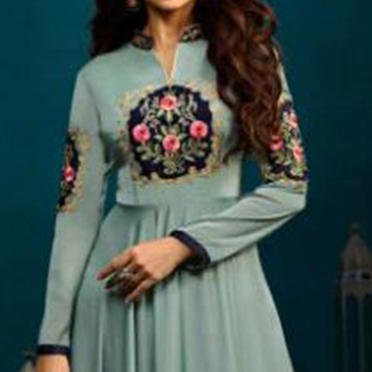 Breathtaking Slate Blue Colored Party Wear Embroidered Georgette Gown