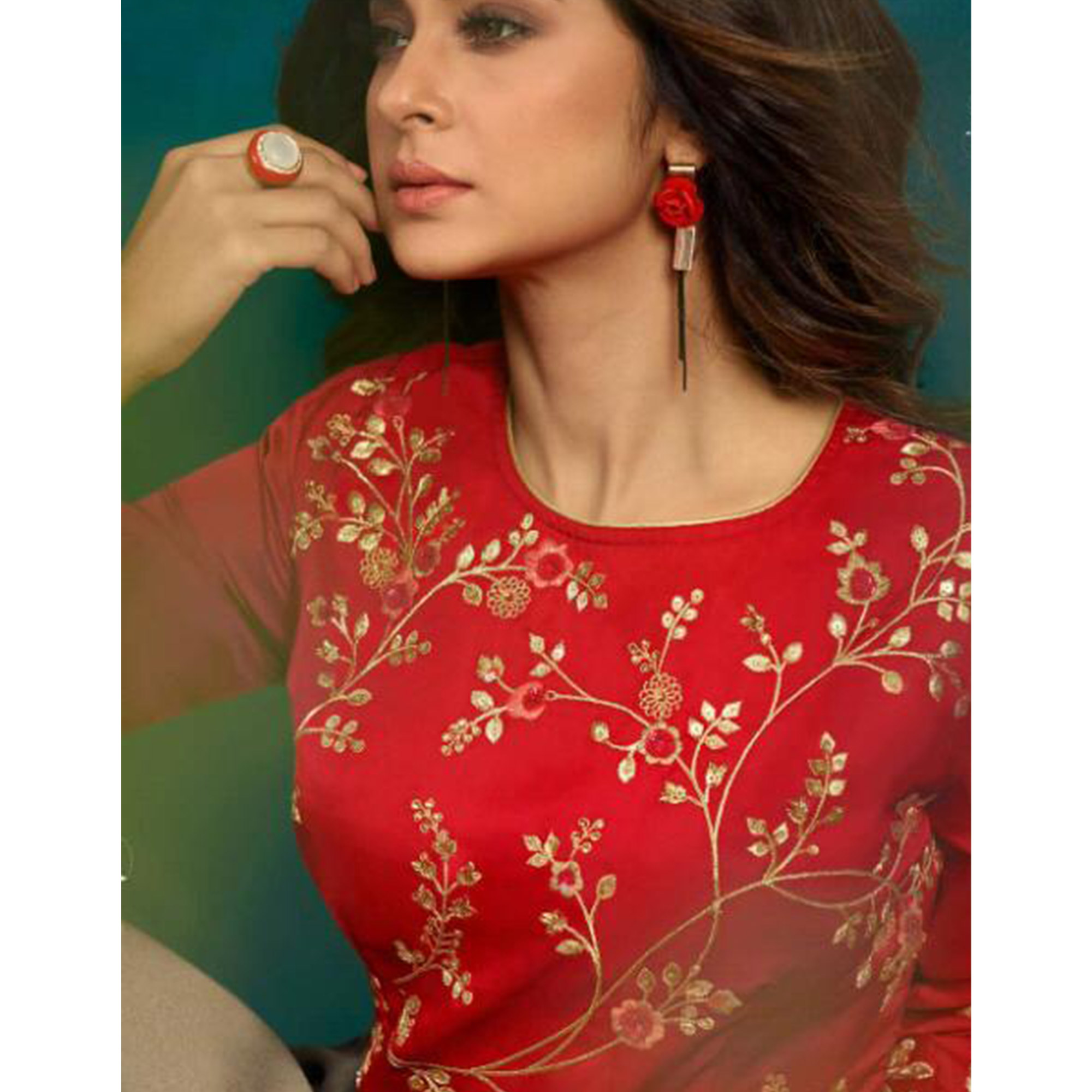 Impressive Red-Grey Colored Party Wear Embroidered Georgette & Silk Gown