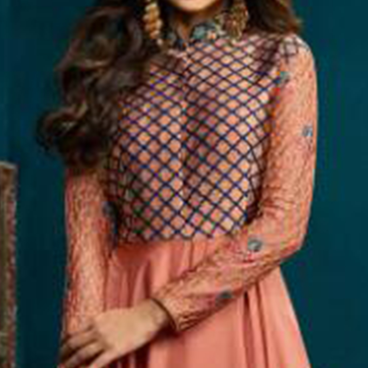 Innovative Peach Colored Party Wear Embroidered Banarasi & Georgette Gown