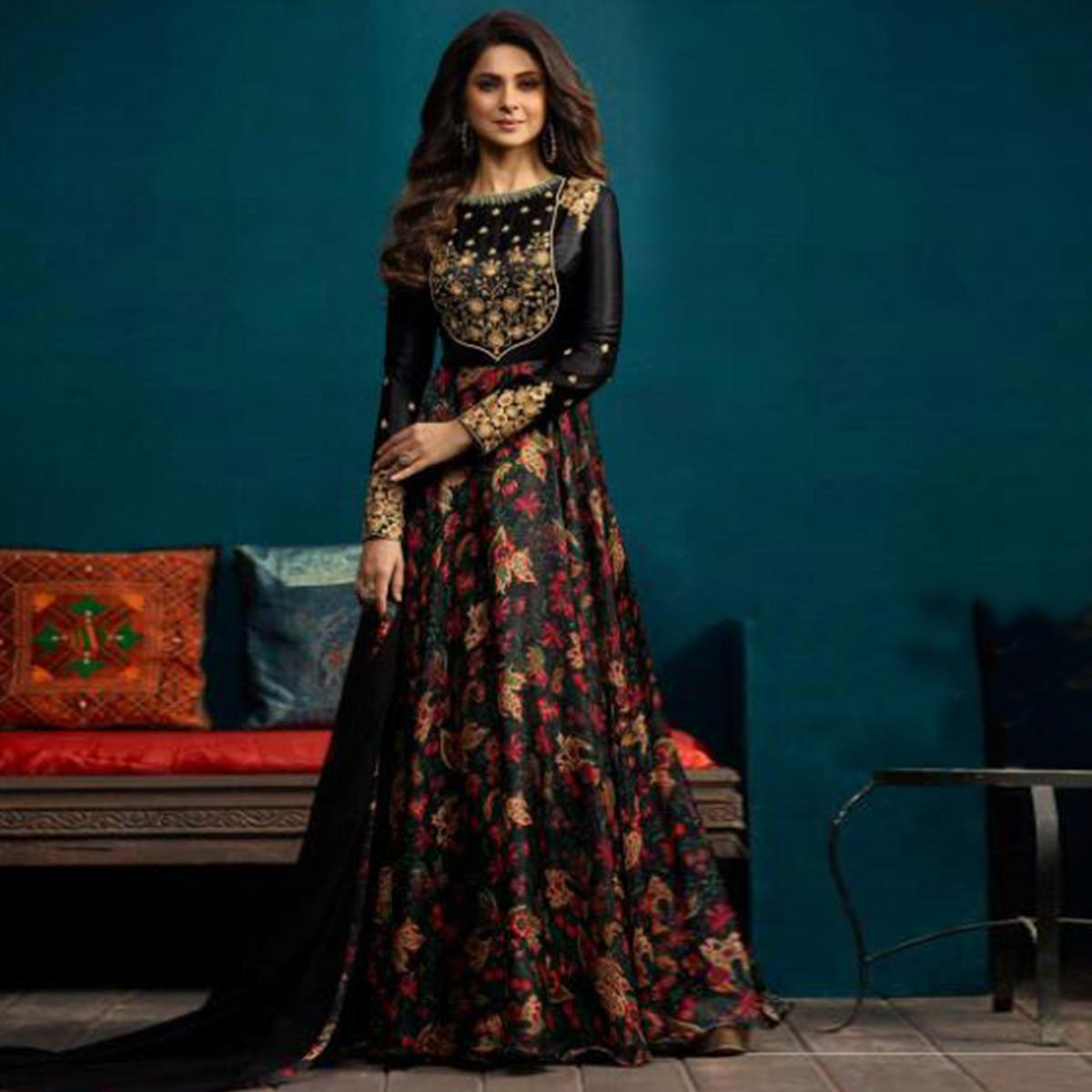 Gleaming Black Colored Party Wear Embroidered Silk Gown