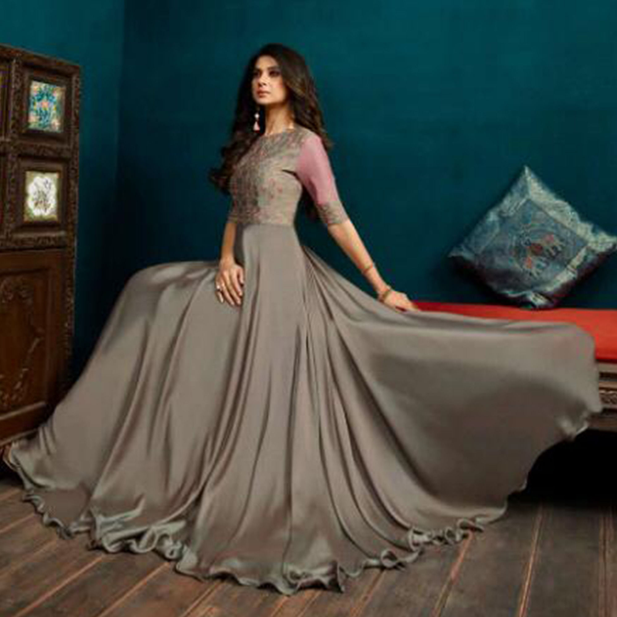 Arresting Grey Colored Party Wear Embroidered Georgette Gown